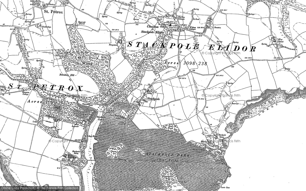 Old Map of Historic Map covering Barafundle Bay in 1948