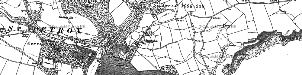 Old map of Stackpole in 1948