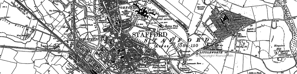 Old map of Stafford in 1880