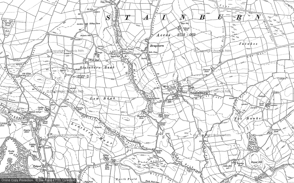 Old Map of Historic Map covering Bailey's Whins in 1888