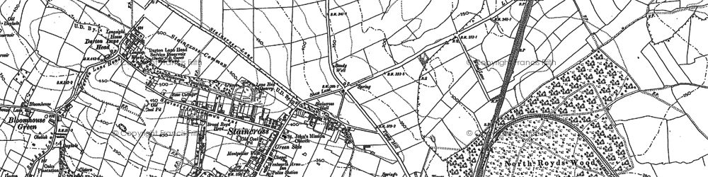 Old map of Staincross in 1851