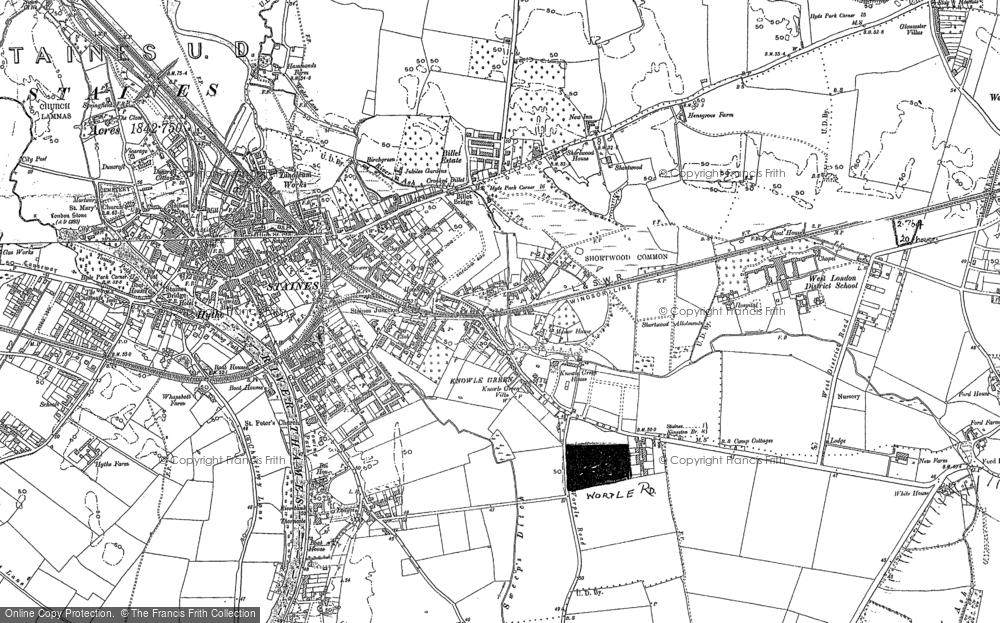 Map of Staines, 1913