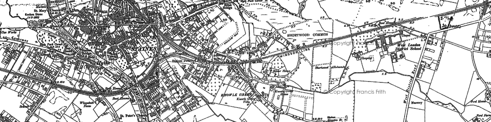 Old map of Staines in 1913