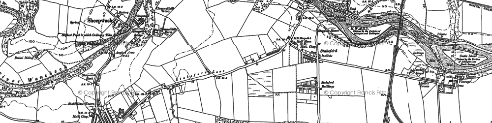Old map of Stakeford in 1896