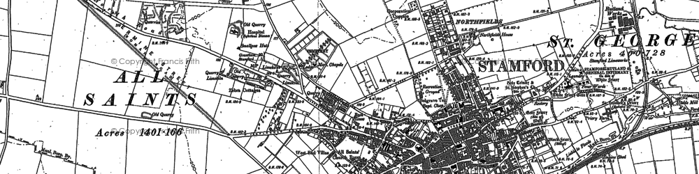 Old map of Stamford in 1885