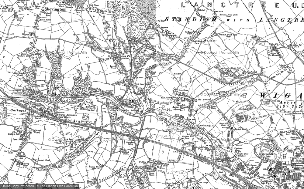 Old Map of Historic Map covering Ackhurst Hall in 1892