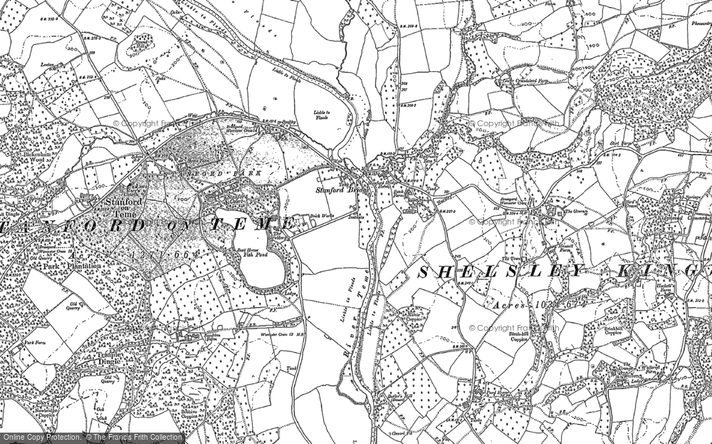 Old Map of Stanford Bridge, 1883 in 1883