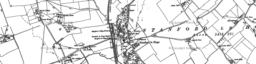 Old map of Stanford-le-Hope in 1895