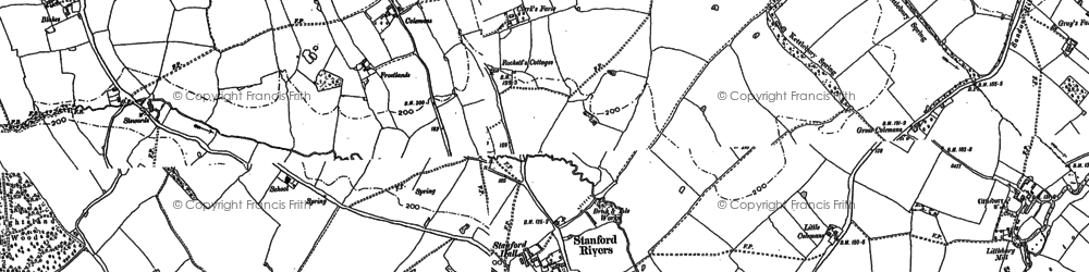 Old map of Greensted in 1895