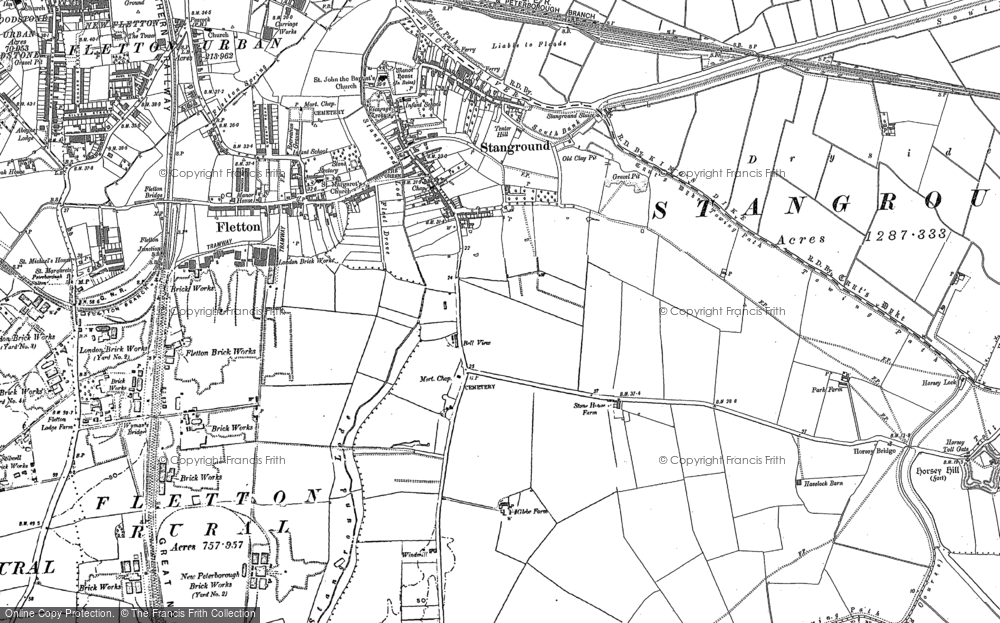 Old Map of Stanground, 1887 - 1900 in 1887