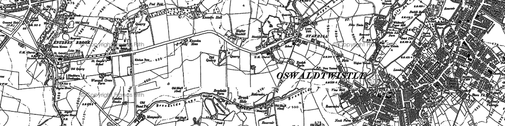 Old map of Stanhill in 1891