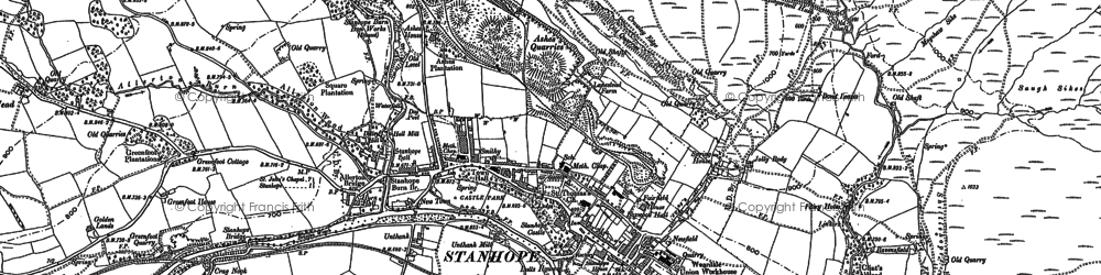 Old map of Stanhope in 1895