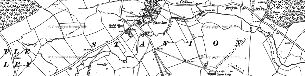 Old map of Stanion in 1884