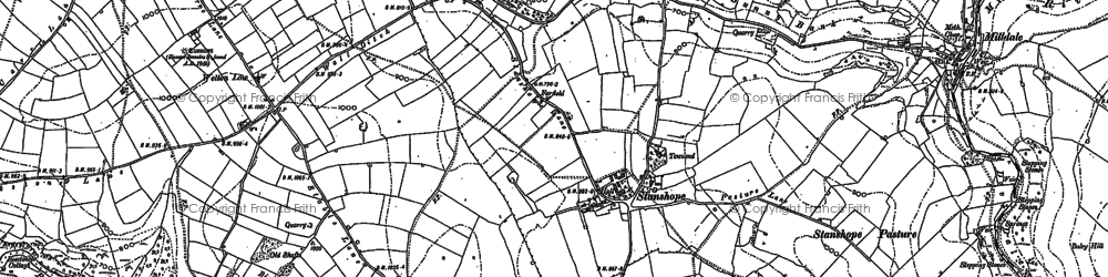 Old map of Wetton Low in 1898