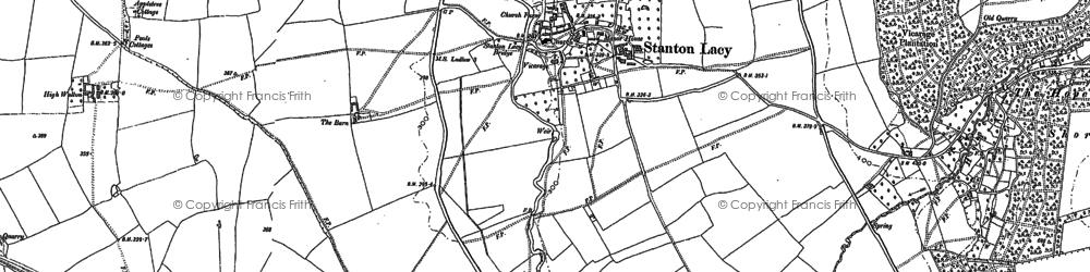 Old map of Stanton Lacy in 1883