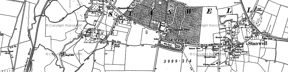 Old map of Wraysbury River in 1912
