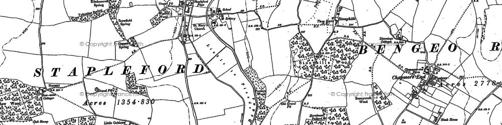 Old map of Stapleford in 1897