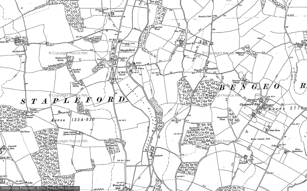Old Map of Historic Map covering Woodhall Park in 1897