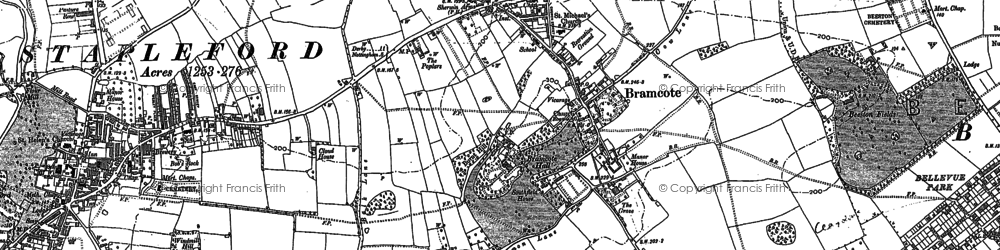 Old map of Stapleford in 1899