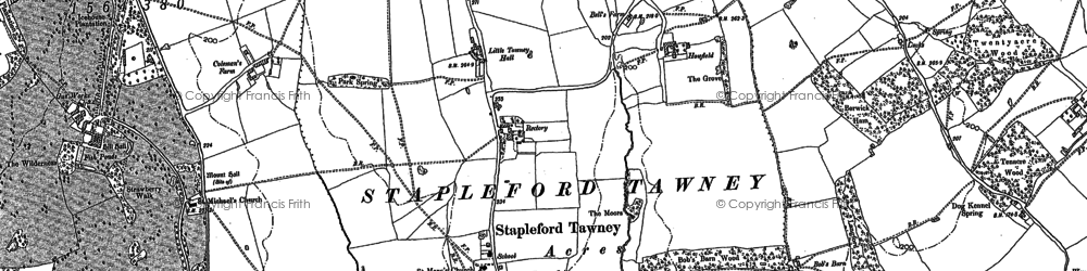 Old map of Stapleford Tawney in 1895