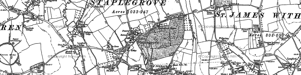 Old map of Staplegrove in 1887