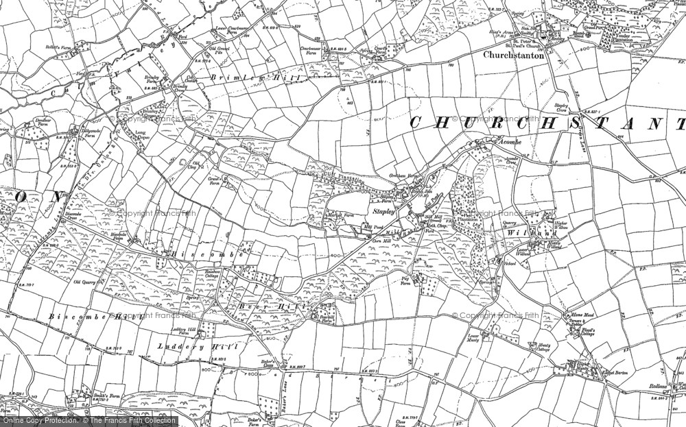Old Map of Historic Map covering Willand in 1887