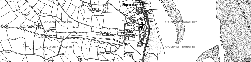 Old map of Starcross in 1888