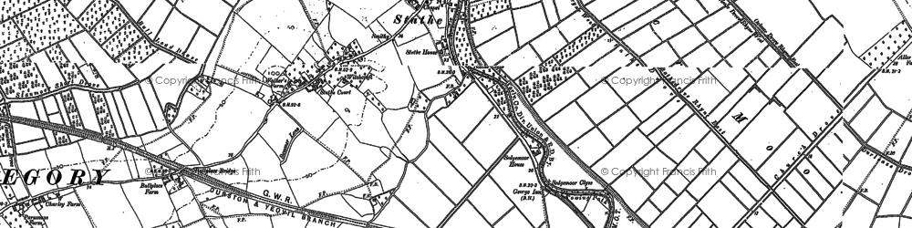 Old map of Aller Moor in 1885