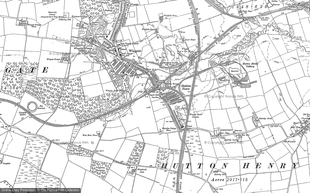 Old Map of Historic Map covering Woodlands Close in 1896