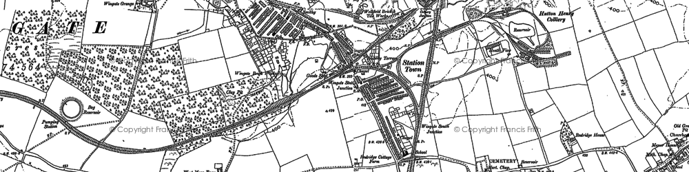 Old map of White Hurworth in 1896