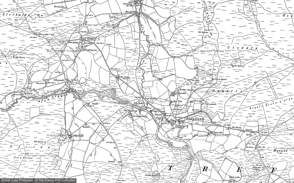 Old Map of Historic Map covering Afon Llwyd in 1885