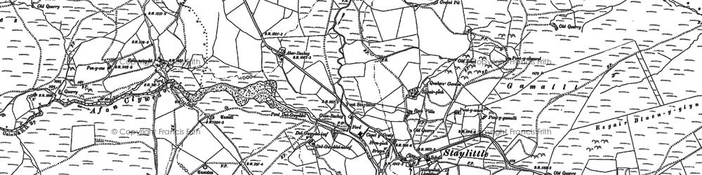 Old map of Afon Llwyd in 1885