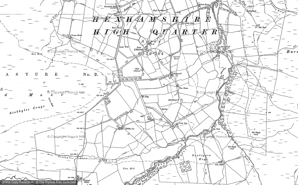 Old Map of Historic Map covering Aydon Shields in 1895
