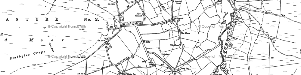 Old map of Aydon Shields in 1895