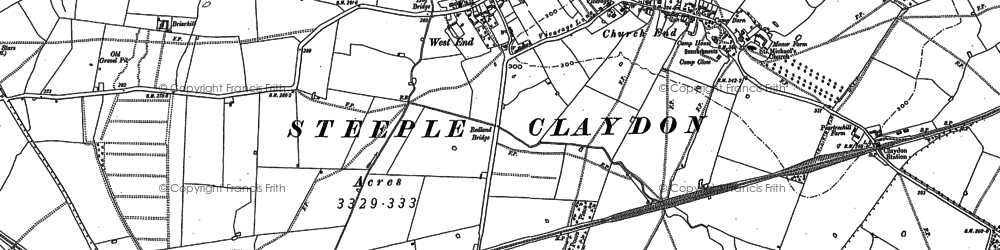 Old map of Steeple Claydon in 1898