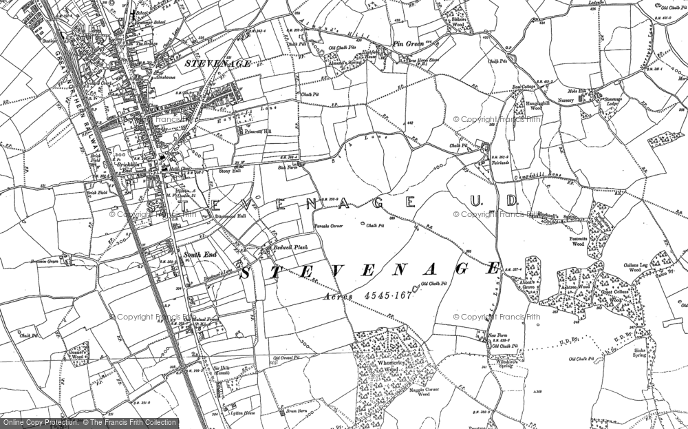 Old Map of Historic Map covering Shephall in 1897