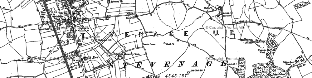 Old map of Stevenage in 1897