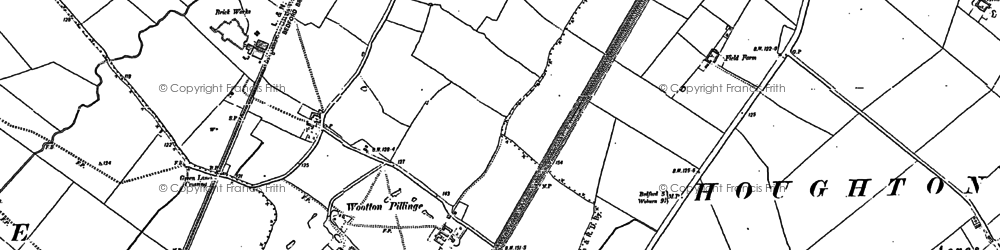 Old map of Wootton Broadmead in 1882