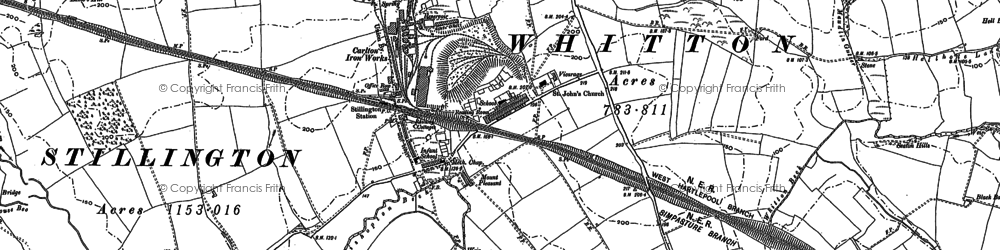 Old map of Whitton Three Gates in 1896