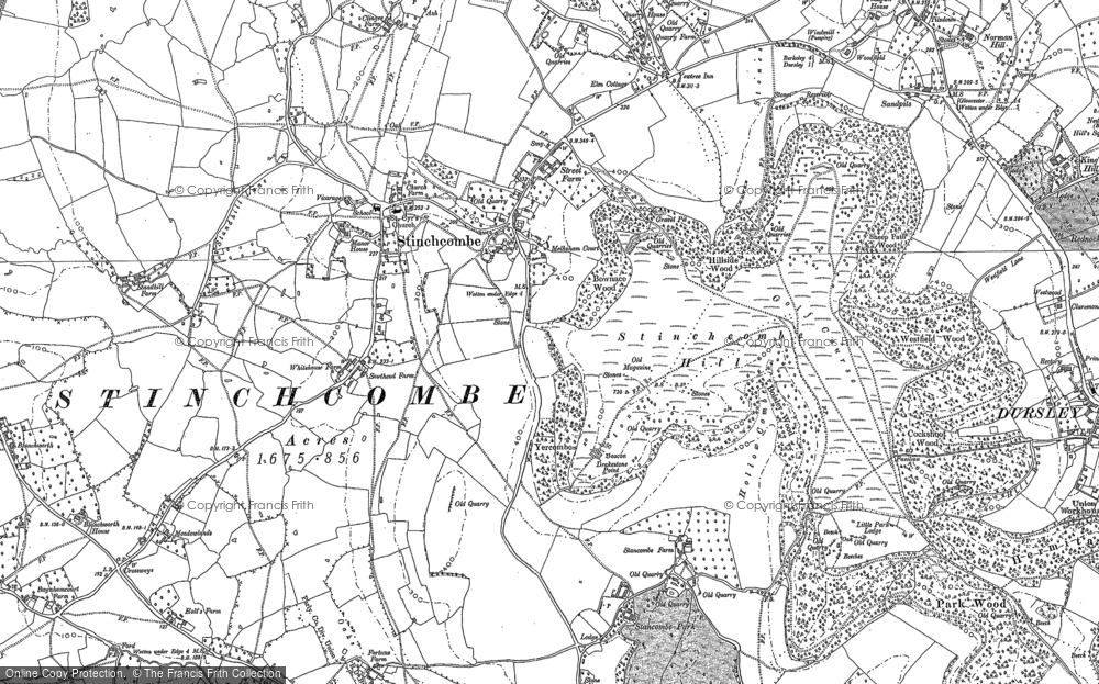 Old Map of Historic Map covering Yercombe Lodge in 1882