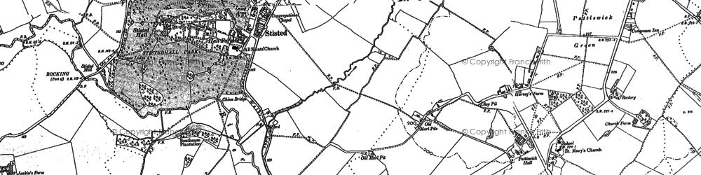 Old map of Stisted in 1896