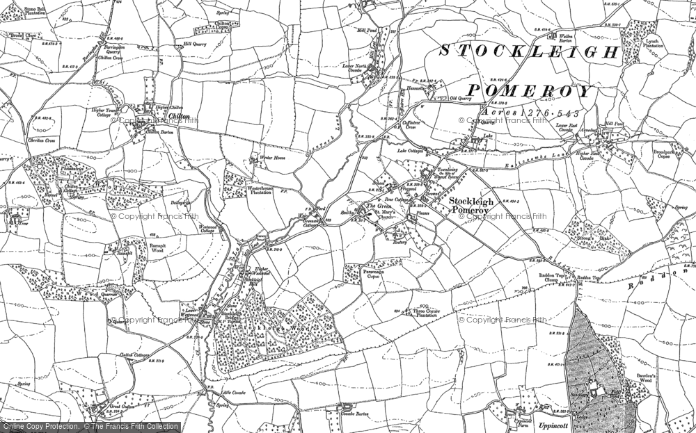 Old Map of Stockleigh Pomeroy, 1887 in 1887