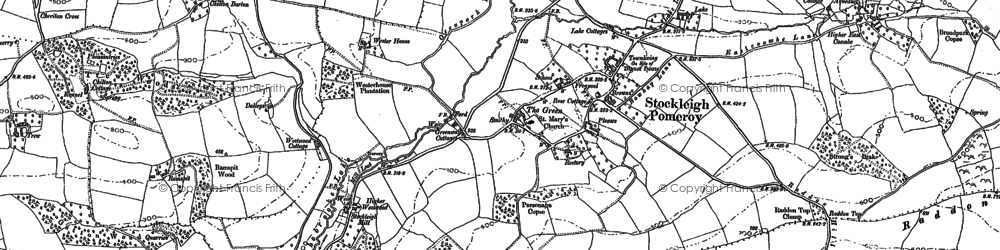 Old map of Stockleigh Pomeroy in 1887
