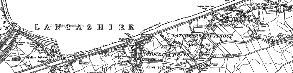 Old map of Stockton Heath in 1905