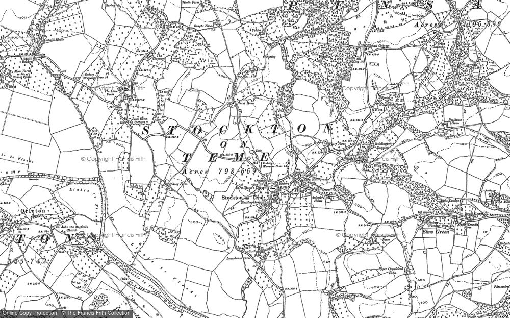 Old Map of Stockton on Teme, 1883 in 1883
