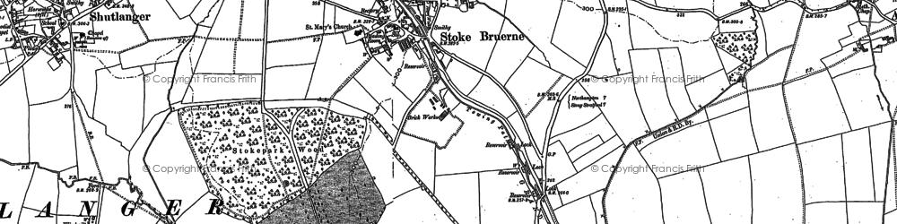 Old map of Stoke Bruerne in 1883