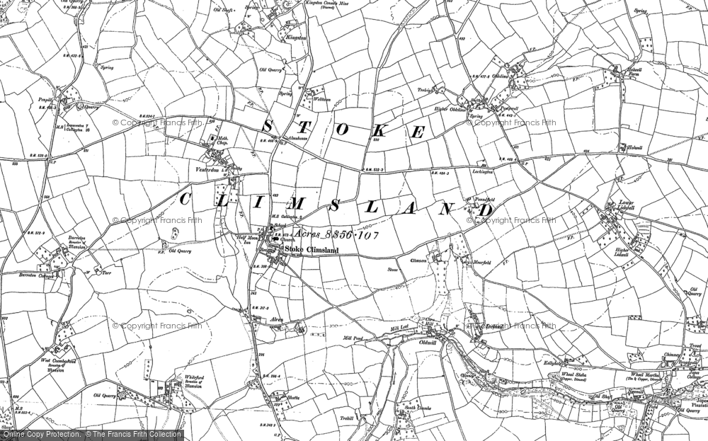 Old Map of Stoke Climsland, 1905 in 1905