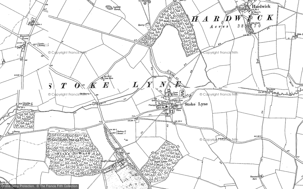 Old Map of Historic Map covering Lime Kiln Hovel in 1898