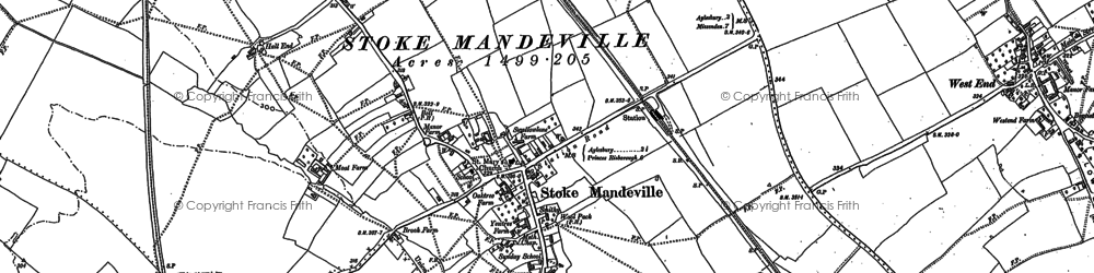 Old map of Stoke Mandeville in 1897