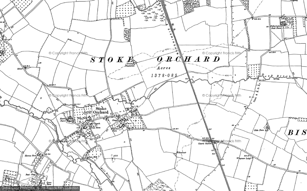 Old Map of Stoke Orchard, 1883 in 1883